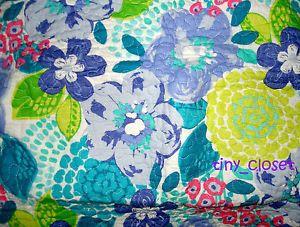 New Cynthia Rowley Veronica Floral 3pc Tropical Blue Full Queen Quilt Shams Set