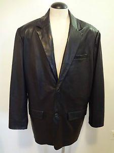 Roundtree Yorke Black Lambskin Leather Lined Blazer Jacket Coat 3X Tall 3XTNEW