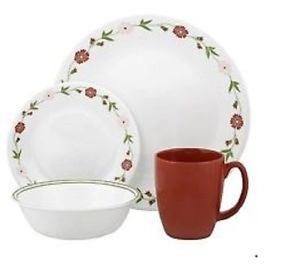 Corelle Contour Pink Dinnerware Set Service 4 Dishes Plates Mugs Cups Tableware