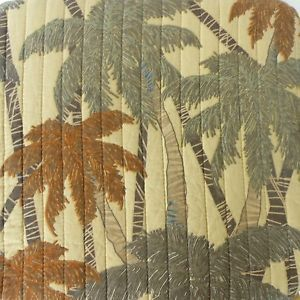 Tommy Bahama Palm Tree Leaf Full Queen Quilt Tropical Beach Cottage Brown Tan