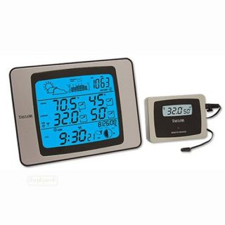 Taylor 1528 Wireless Weather Station and Atomic Clock New