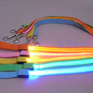 LED Flashing Dog Harness Pet Leash Rope Belt Safety Lead Light Nylon 5 Color