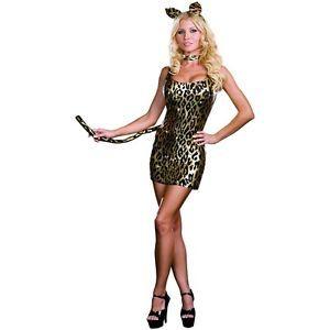 Kitty Cat Kit Leopard Print Ears Collar Tail Halloween Costume Accessory Set