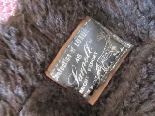 Mens Vtg Retro Brown 70s Sheepskin Leather Suede Winter Pea Coat Jacket Medium