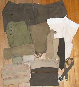 Lot of 24 WWI US Army Men's Military Uniform Accessories Parts Socks Hats Wool