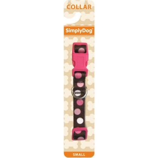 New Simplydog Girls Dog Leash Harness Collar Pink Brown Polka Dot M Medium 10