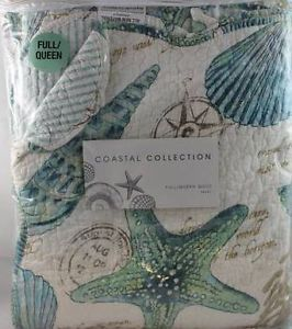 Coastal Collection Tropical Beach Sea Shell Seahorse Beach Queen Quilt Set