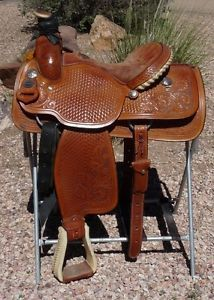 """Crates Mike Beers 15 5"""" Team Roping Roper Saddle Great"""