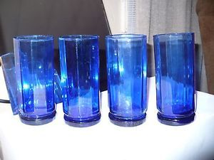 Vintage Cobalt Blue Beer Ice Tea Water Drinking Glasses Tumblers