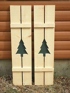 Rustic Pine Shutters Log Cabin Exterior Window Custom Handmade Tree