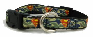Superman Logo Green Camouflage Little Dog Collars or Leash 1 2 inch Width