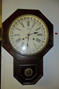 Antique Waterbury Clock Co Calendar Regulator Wall Clock