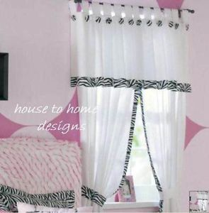 Zebra White Black Window Drapes Animal Print Panels Curtains
