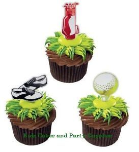 Golfing Symbols Cupcake Picks Cake Toppers Golf Decorations Father's Day 24