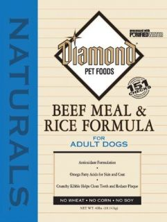 Diamond Natural Dry Dog Food Adult Beef Rice 40 lb Bag Crunchy Kibble Skin Coat