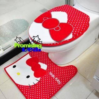 Hello Kitty Bath Mat Rug Toilet Seats Lid Cover Black
