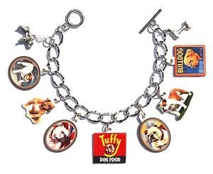 Handmade English Bulldog Dog Bracelet Vintage Label Puppy Food Ad Pewter Charms