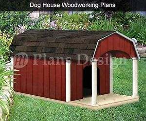 "36"" x 60"" Porch Barn Roof Style Dog House Plans 90305B Pet Size Up to 150 Lbs"