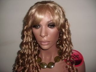 New Long Blonde Candy Spiral Curl Full Cap Wig 27 613