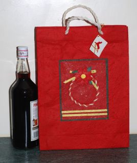 "Large Unusual Christmas Mulberry Paper Gift Bag 14 5"" x 11"" Hand Made Brand New"