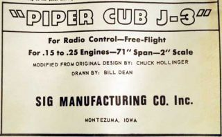 "Sig Mfg Piper Cub J 3 Balsa Wood RC Model Kit Vintage 1960s 71"" Wingspan"