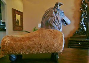 """Unusual Vintage Collie Lassie Sheltie Dog Plush Toy Wheels Rubber Face 20""""X16"""""""