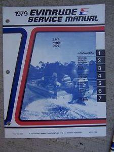 1979 Evinrude Outboard Motor Service Manual 2 HP Model 2902 Marine Boat Engine K