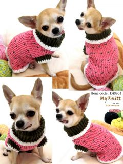 Handmade Hand Knit Crochet Dog Puppy Maltese Shih Tzu Vest Shirt Sweater D861