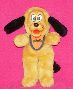 Vintage Disney Rubber Face Pluto Dog Disneyland Stuffed Toy Plush with Bib