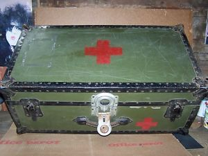 Antique Military Style Footlocker First Aid Trunk Army Green
