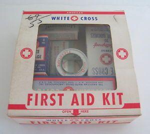 Vintage Emergency American First Aid Kit White Cross Unused Original Contents