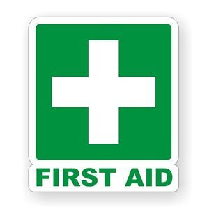 First Aid Vinyl Decal Sticker Label camper Van RV Boat Off Road Safety Kit