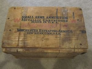 VINTAGE WINCHESTER ARMS CO SMALL ARMS WOODEN AMMUNITION AMMO BOX
