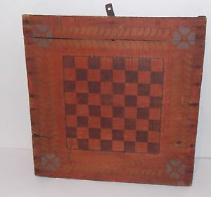 Nice Early 20th C American Folk Art Gameboard Checker Game Board Old Paint