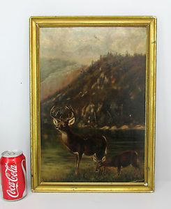 Antique Folk Art Oil Painting on Board Buck Doe Whitetail Deer