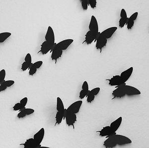 12pcs 3D Butterfly Wall Stickers Butterflies Docors Art DIY Decorations Paper