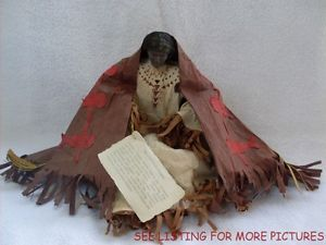 Folk Art Handcrafted Cherokee Indian Doll Handcrafted Paper Blanket