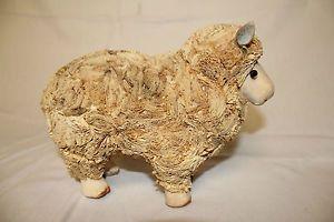Folk Art Paper Mache Sheep American Primitive Nativity Toy Farm Animal Lamb
