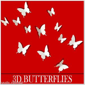 White 3D Butterfly Wall Stickers Butterflies Docors Art Decorations Paper