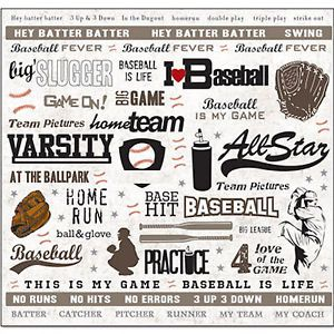 Art Whse Baseball 12x12 Sticker Sheet Scrapbooking Borders Shapes Words