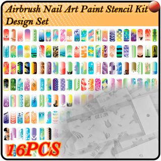 Airbrush Paint Stencil Nail Art Design Tool Kit ES207