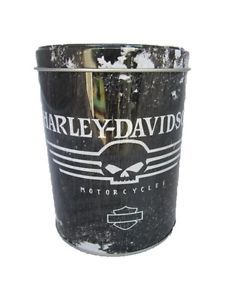 Retro Harley Davidson Skull Collectors Tin Food Storage Canister H 13cm Black