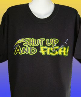 New Funny Fishing T Shirt Shut Up and Fish Plus Sizes