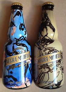 SET OF 2 MEXICAN NEGRA MODELO BEER BOTTLES ART LTD ED RARE PERFECT COND 355 ML