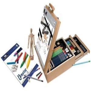 Art Kit 124 Pic Professional Easel Young Artist Pencil Case Sketch Draw Color