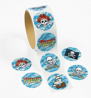 100 Pirate Roll Stickers Birthday Party Treasure Chest Jolly Roger Skull SHIP