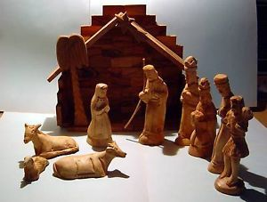 Olive Wood Nativity Set Made in Bethlehem Olive Art with Papers