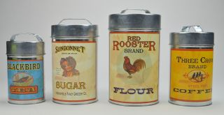 Decorative 4 Piece Food Safe Advertising Tin Canister Set Flour Tea Sugar Coffee