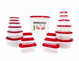 38 Pcs Reusable Plastic Food Storage Containers Set with Air Tight Red Lids