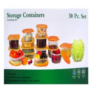 30 Piece Plastic Food Container Set 15 Storage Containers Box w Orange Lids New